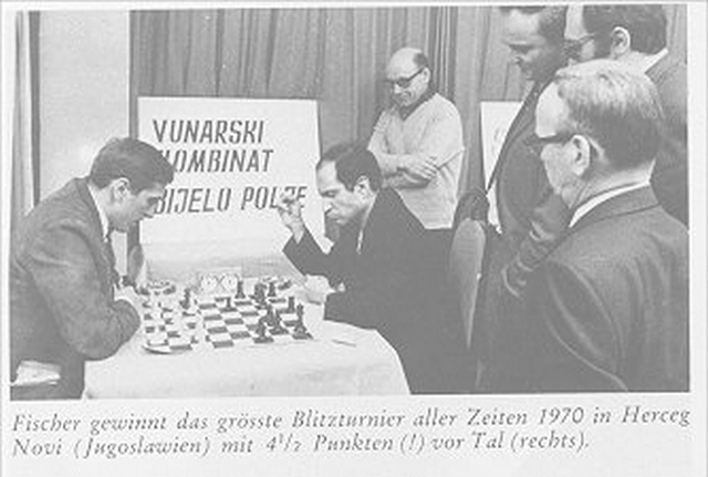 Fischer vs Tal Blitz game.  Bronstein, Ivkov and Reshevsky spectating.  Fischer believed that Blitz ''killed ideas'', but still liked to play for fun.